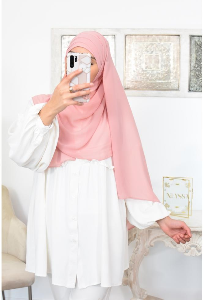 Hijab à enfiler crêpe mousseline