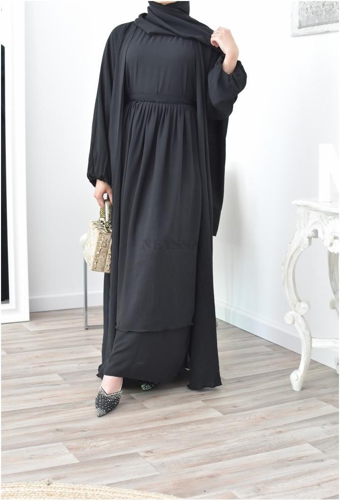Oman abaya 4 pieces combo black