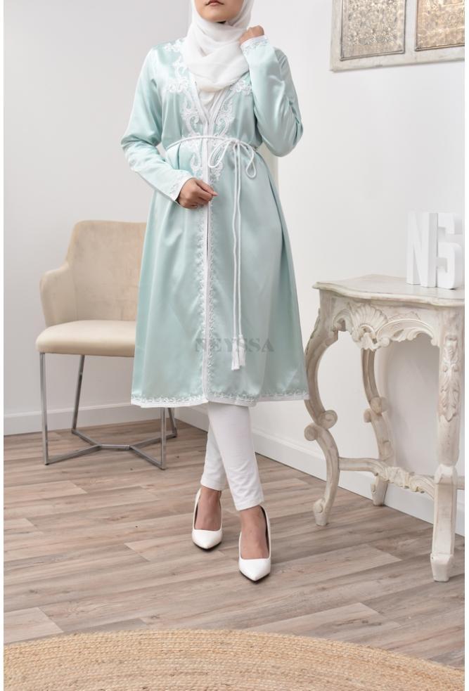 Wasser grün Kimono Kaftan perfekte Passform für verschleierte Frauen