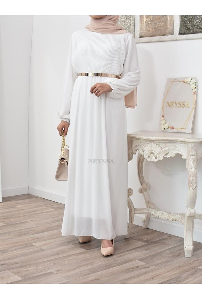Long Pleated bust dress with muslin Kamelina
