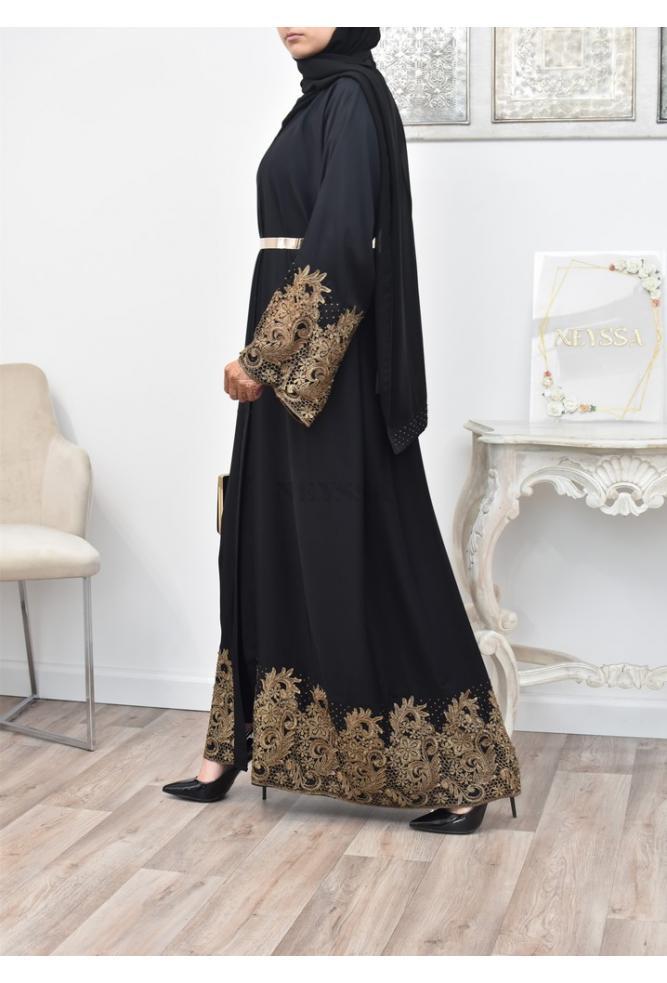 Abaya Kimono embroidered lace for veiled women