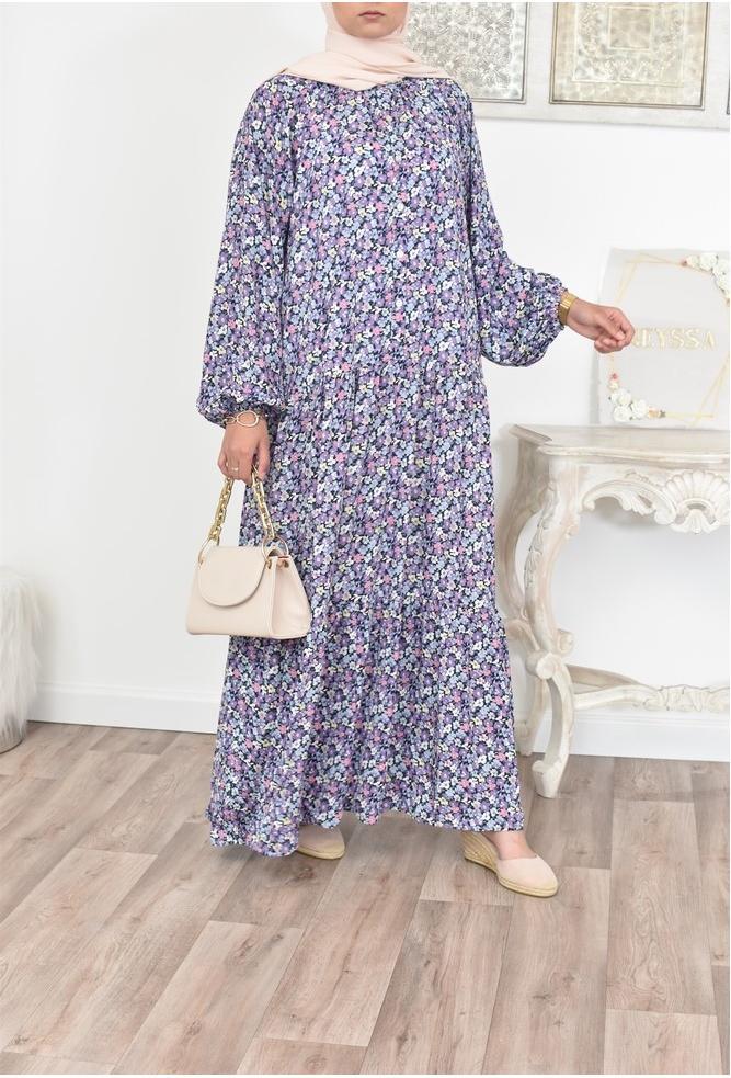 Robe longue bohème fleurie femme musulmane moderne