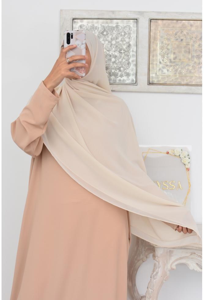 maxi hijab carré mousseline de crêpe Neyssa